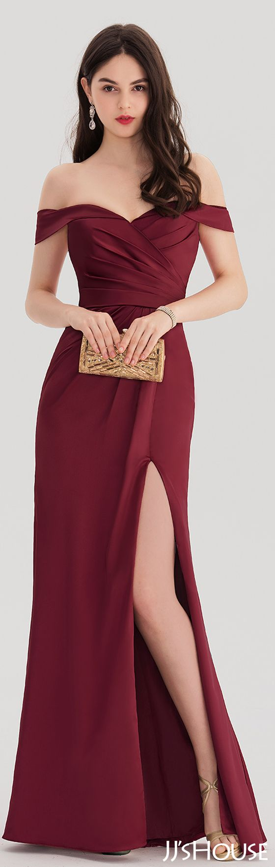 Sheathcolumn offtheshoulder floorlength satin prom dresses with