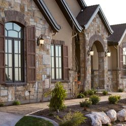 Love the stone stucco love the shutters brick - Exterior paint coverage on stucco ...