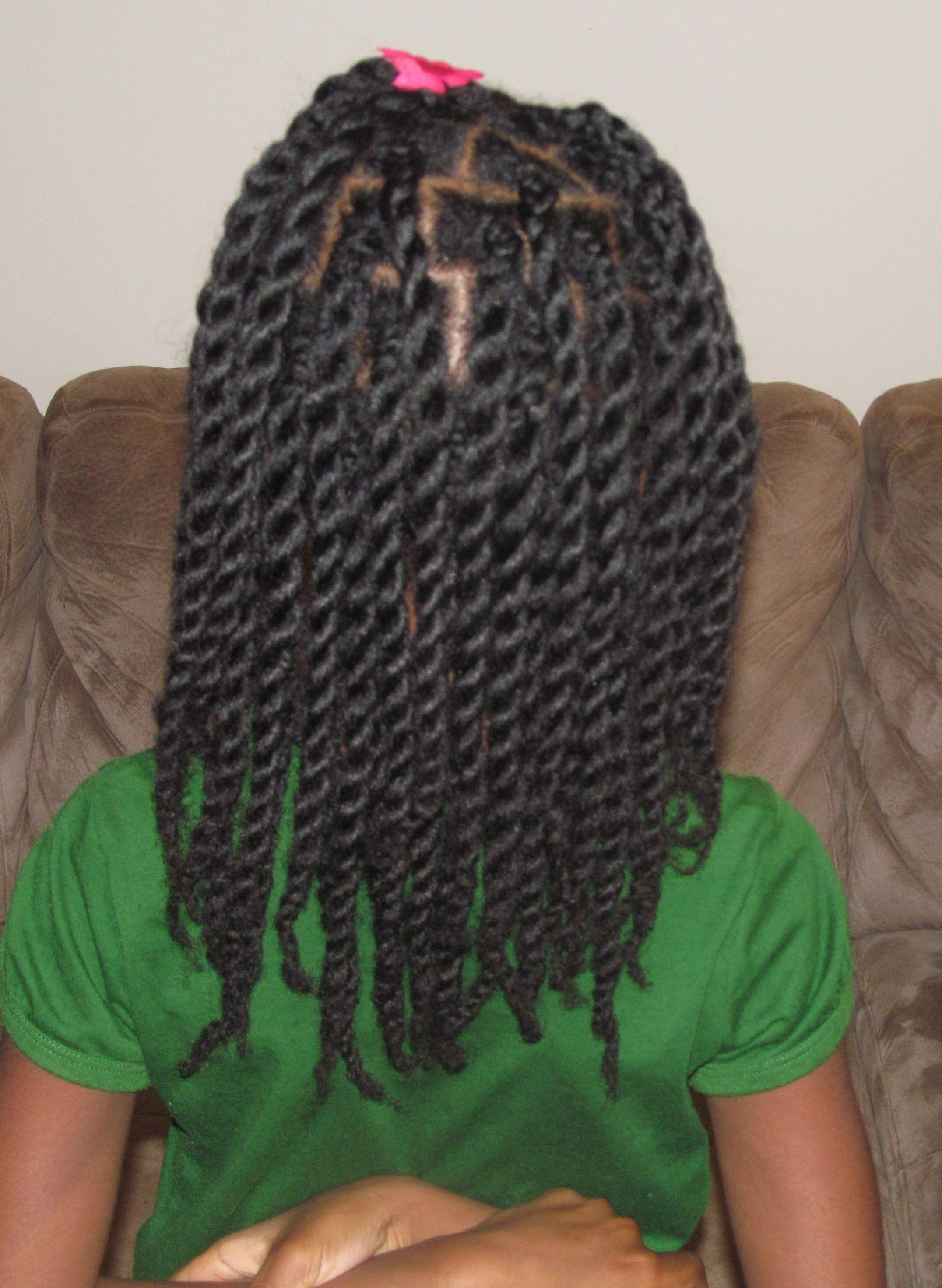 hair twists/rope twists on natural hair (without hair bands