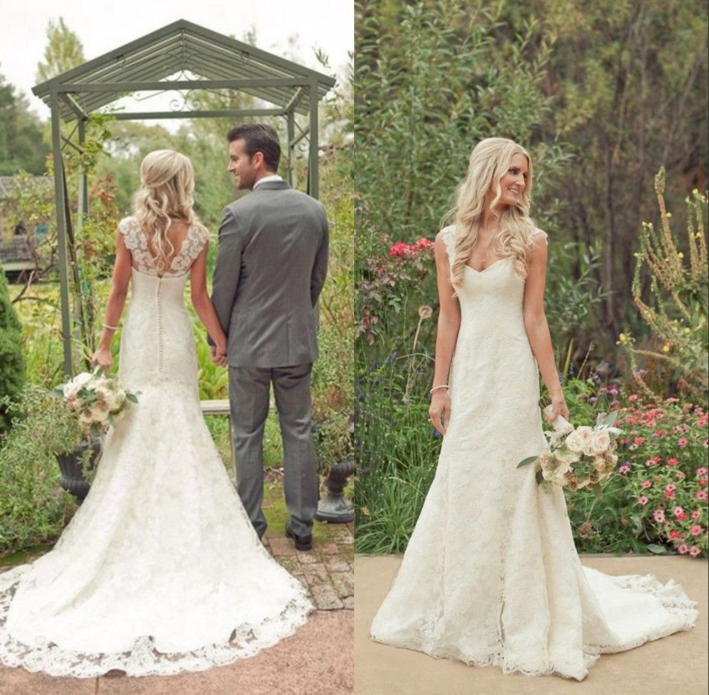 e97d647afab0 Find More Wedding Dresses Information about Country Style Vintage Lace  Beach Wedding Dresses 2014 Cap Sleeves