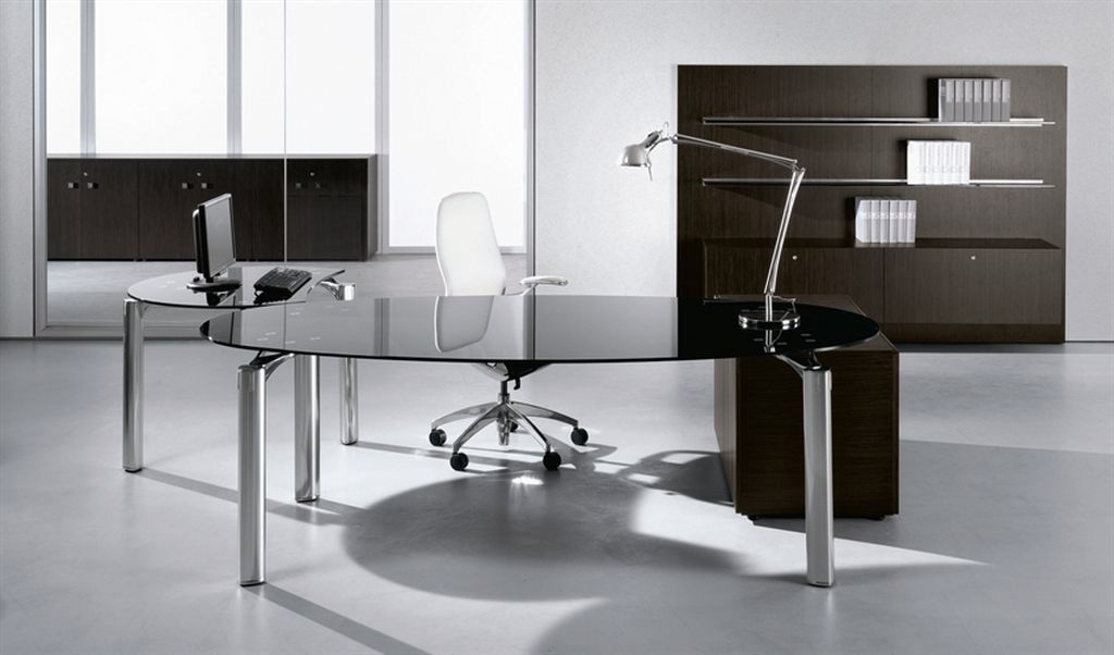 Modern Glass Office Desk For The Most Creative | All Office Desk pertaining to Modern Glass ...