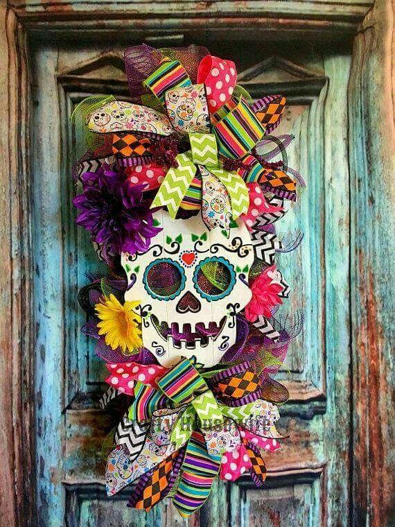 Pin de sandra gomez en halloween cosas de halloween for Decoracion de puertas de dia de muertos