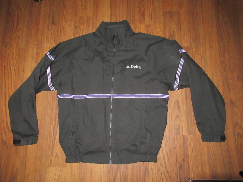 032627a33a2 VINTAGE DELTA AIRLINES BY CINTAS BLACK BLUE FULL ZIP WINDBREAKER ...