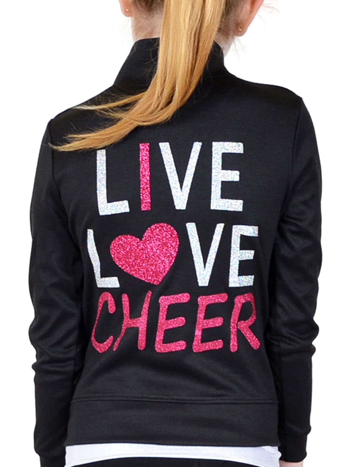 cd5b0d73eed Stretch Is Comfort Girl's Rayon Live Love Cheer Warm Up Jacket ...