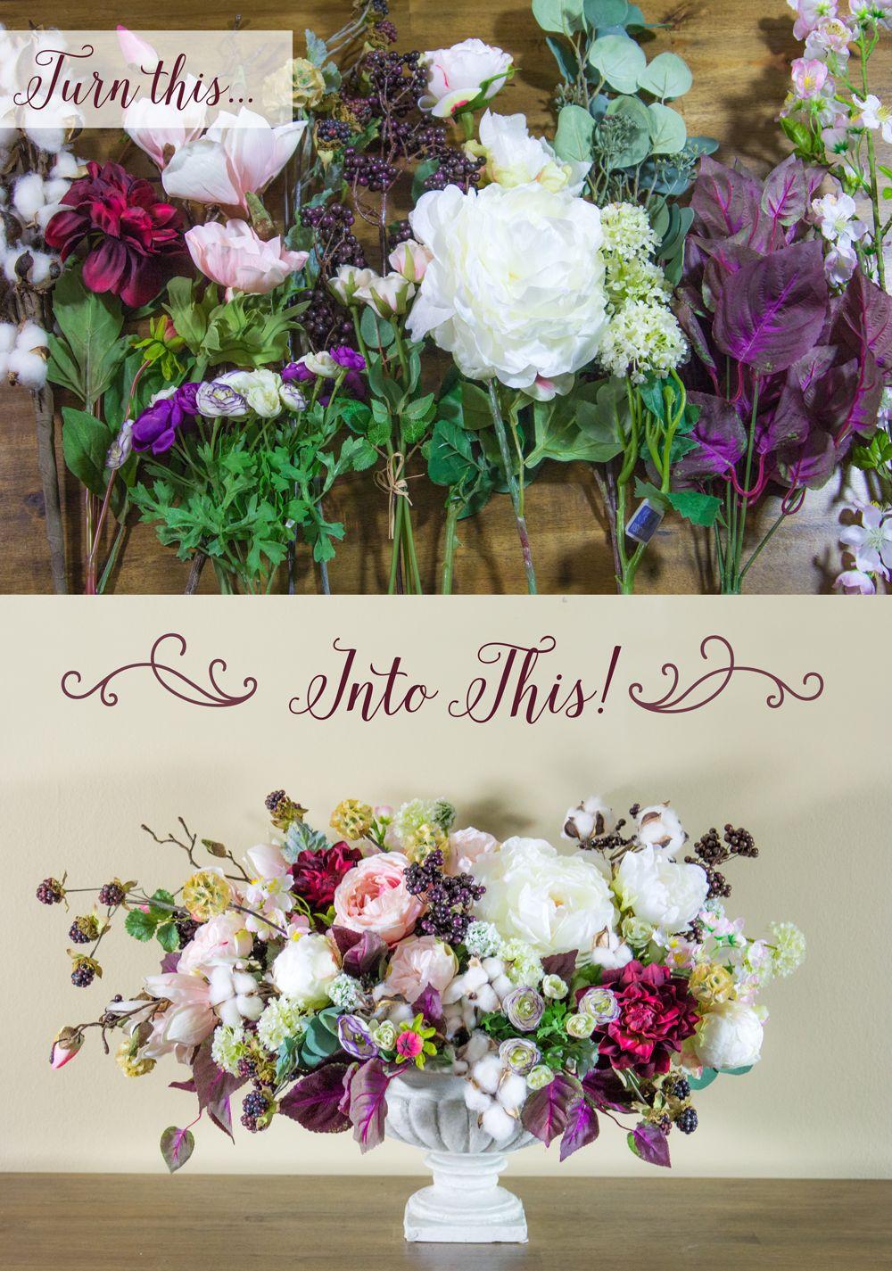 DIY Floral Centerpiece | Faux flowers, Centerpieces and Flower