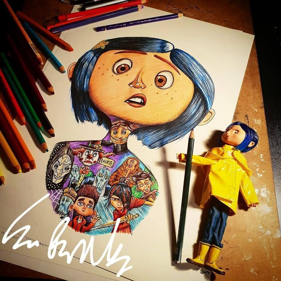 Movie Character Drawings Within Characters Movie Character Drawings Character Drawing Coraline Art