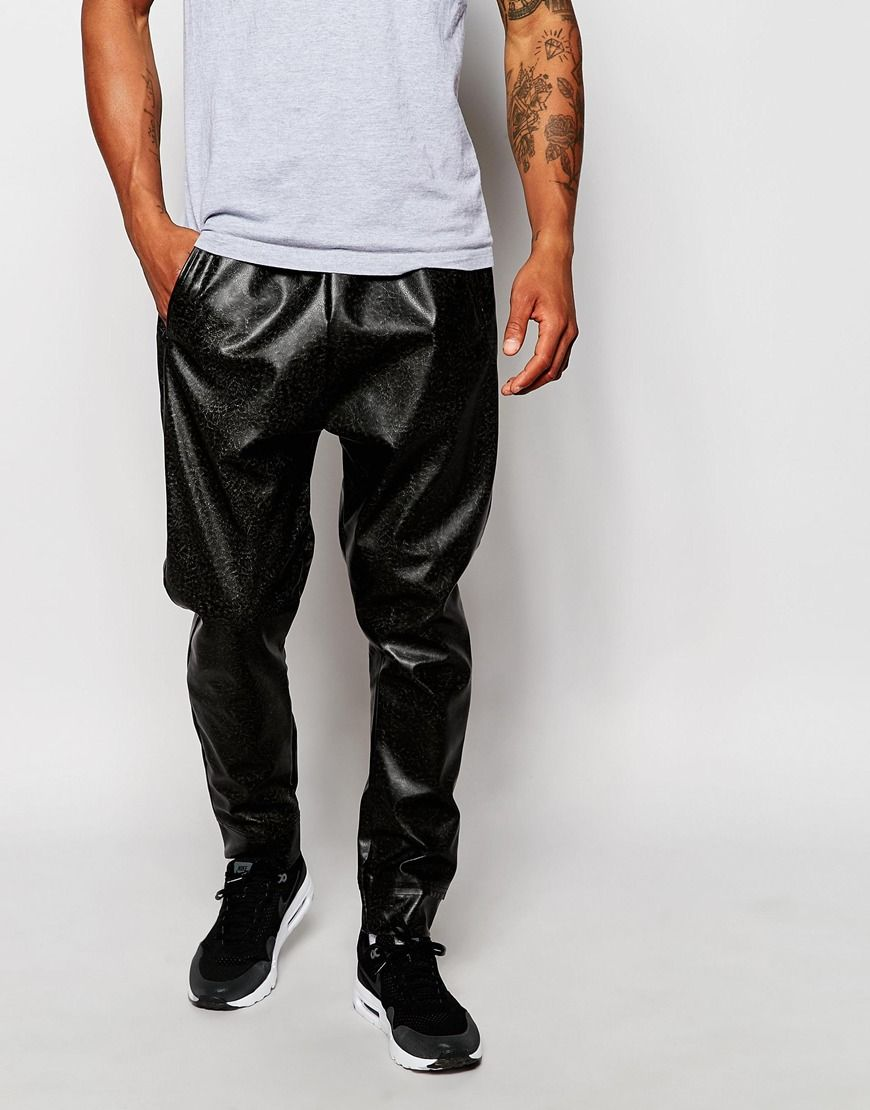02/10/16 cracked faux leather pants with drop crotch