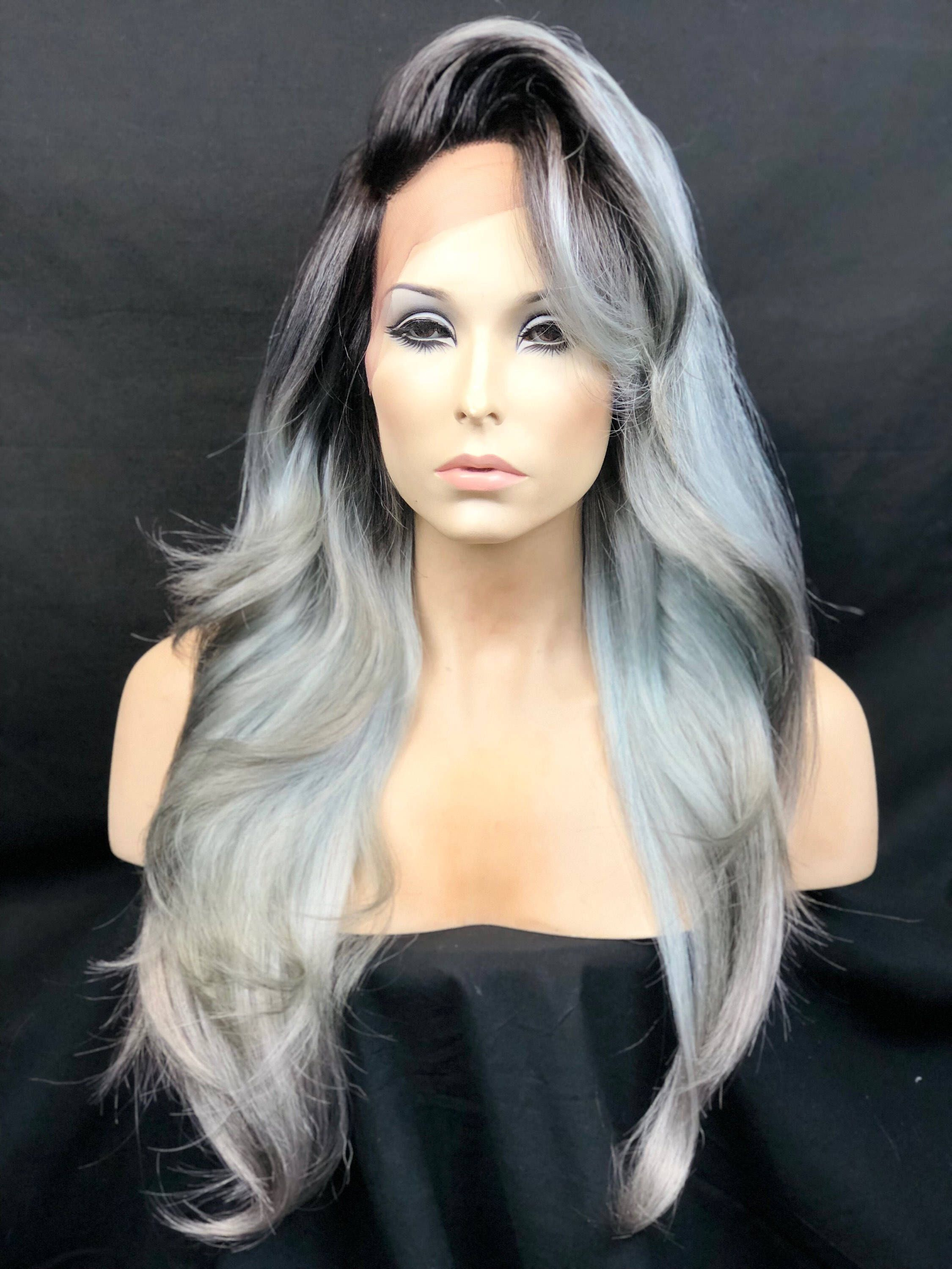 4bf27ff39 Excited to share the latest addition to my #etsy shop: Snowflake Blue Ice  Dark Root Ombre Highlight Mix Lace Front Wig, Heat Safe Heat Friendly Hair