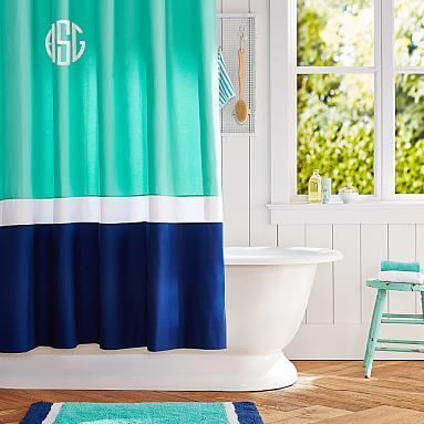 Color Block Shower Curtain Pool Royal Navy Pbteen Fabric