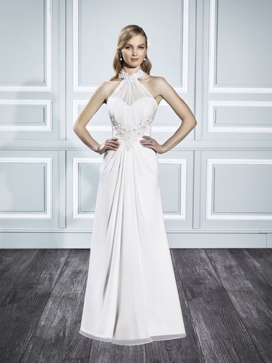 Sophisticated lace halter wedding dress style t moonlight
