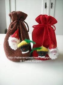 Gratis patronen,tinekeshaakpatronen: Cadeau zakjes met Sint en Piet hoofdjes #sintenpiet