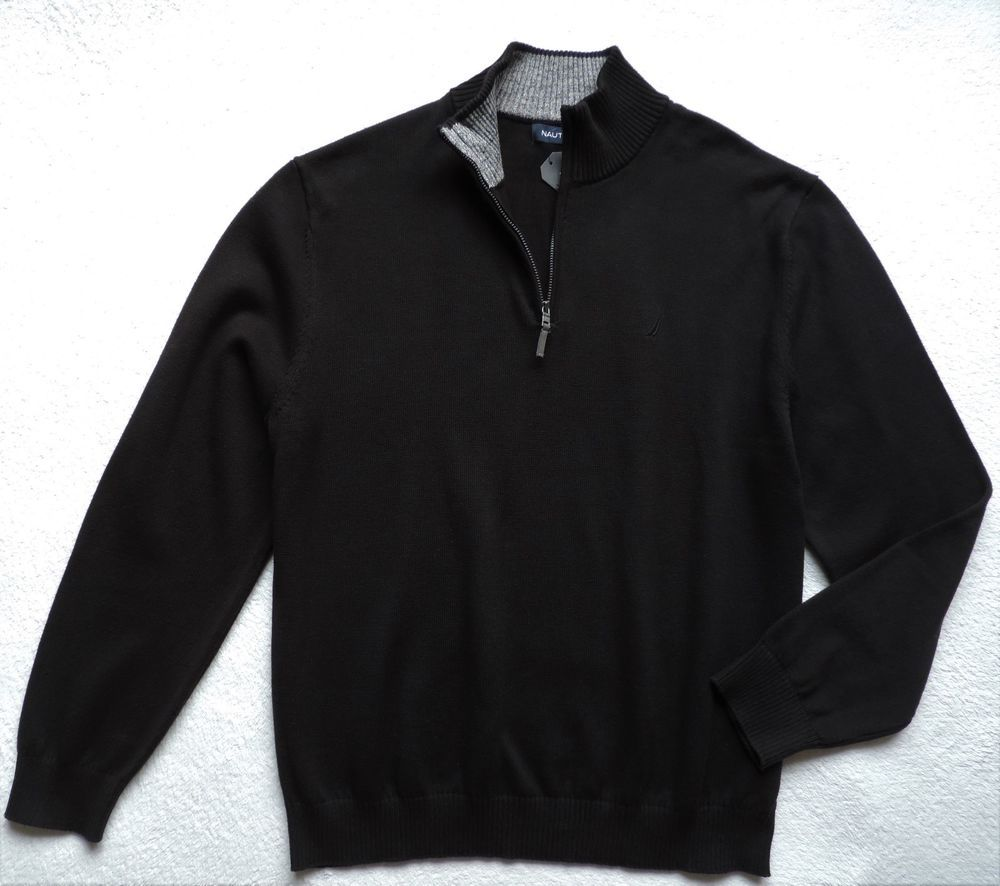 Nautica menus quarter zip cotton pullover black size xl todayus
