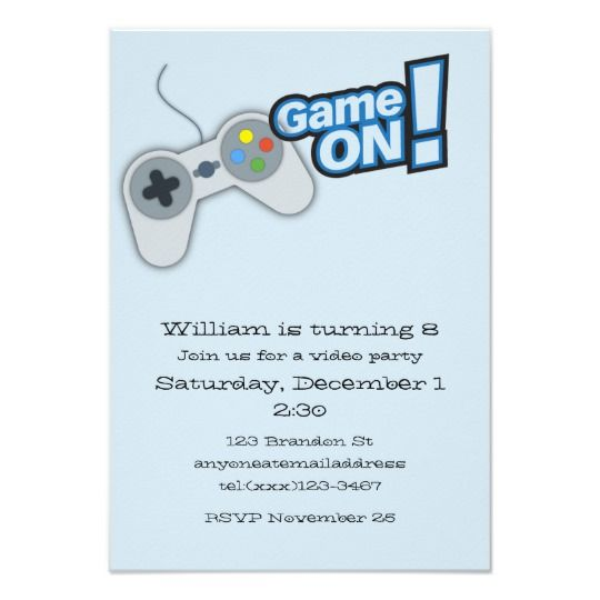 Video game birthday invitation card video game birthday party video game birthday invitation card video game birthday party invitation with controller and pixelated game character on the backad stopboris Images