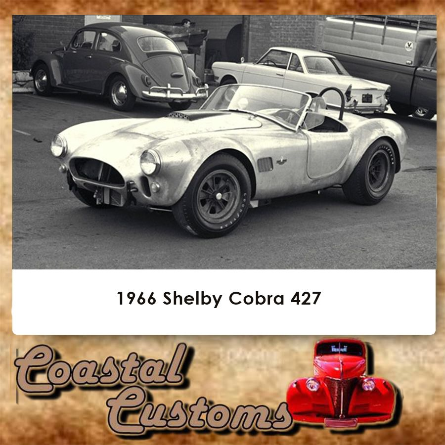 1966 Shelby Cobra 427. Although not purely American, the 427 Cobra is one of the best-known muscle cars ever made. Based on a lightweight British AC Ace roadster, the Cobra was the brainchild of automotive legend Carroll Shelby, and it was essentially created by shoehorning a mammoth Ford 427 engine under the AC's hood. The end result was a frighteningly fast roadster that was also tremendously successful on the track.  Contact us for more info: 044 697 7583 #custom #shelbycobra427