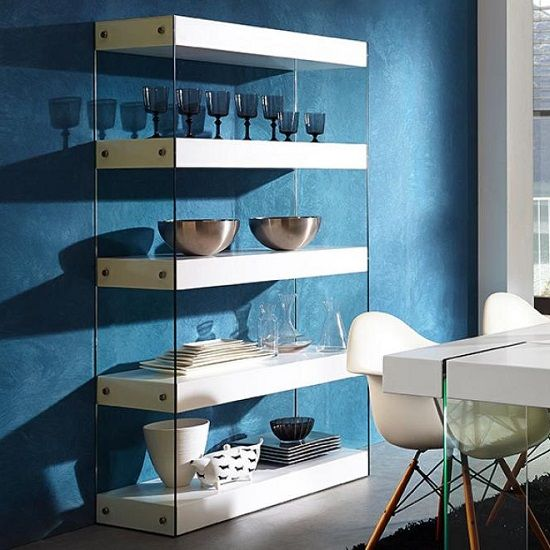 Caspa Bookshelf 3 Shelf With Matt White And Glass. White BookshelvesDisplay  StandsLounge IdeasShelving UnitsLiving Room ...