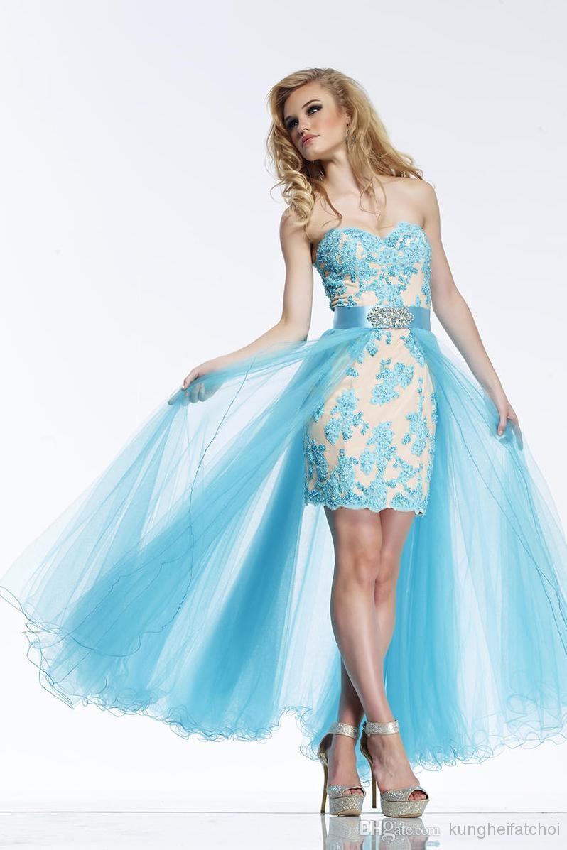 Wholesale - 2014 Tulle Blue Prom Party Dress with Applique | Prom ...