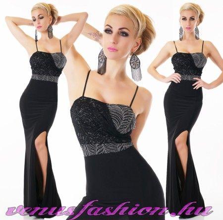 43c2f565b5 Elegáns fekete felvágott női hosszú ruha ezüst díszítéssel Ruhák  Szalagavatóra, Alkalmi Ruhák, Sims