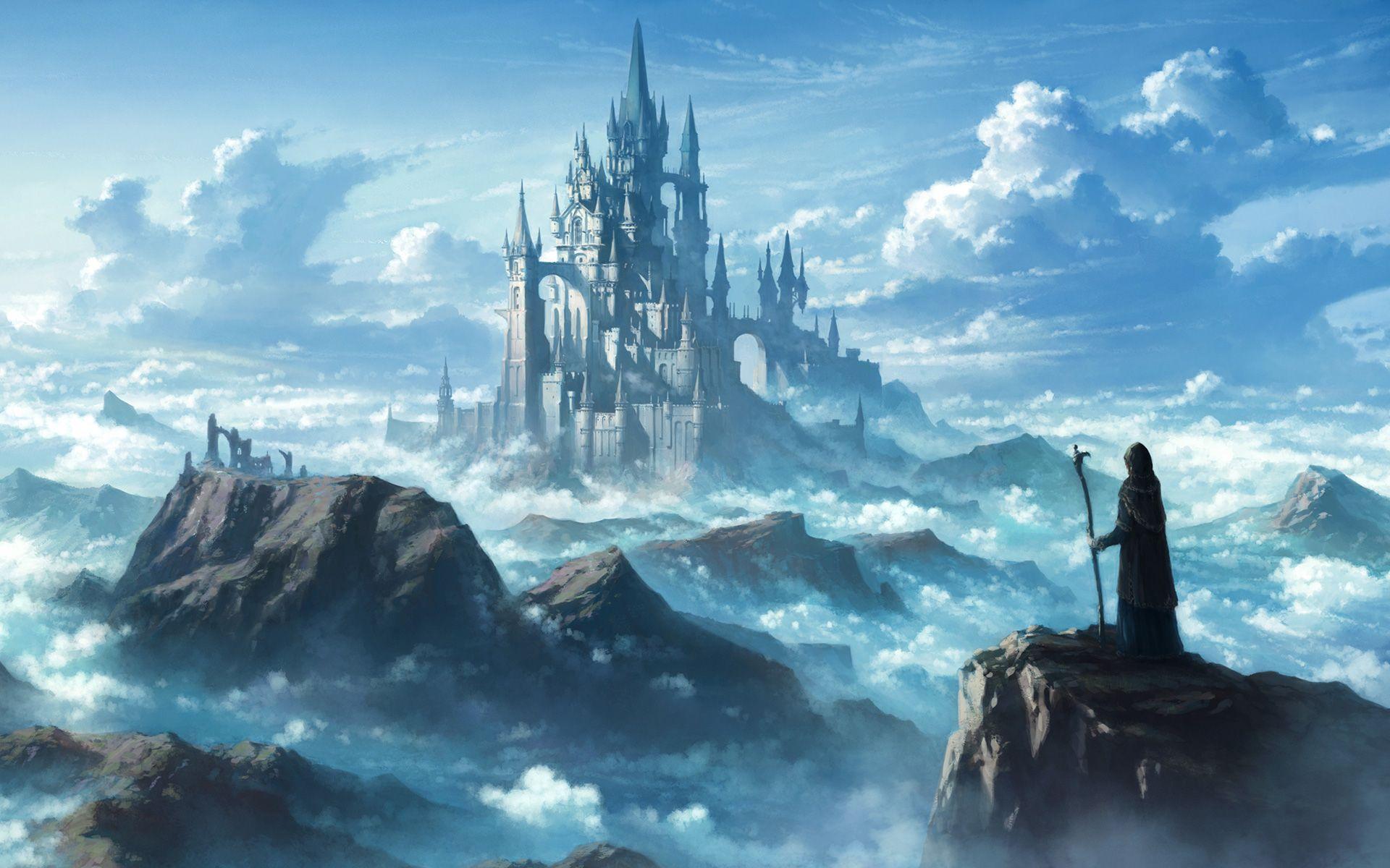 Fantasy Castle Mountains Clouds Art Fantasy Castle Fantasy