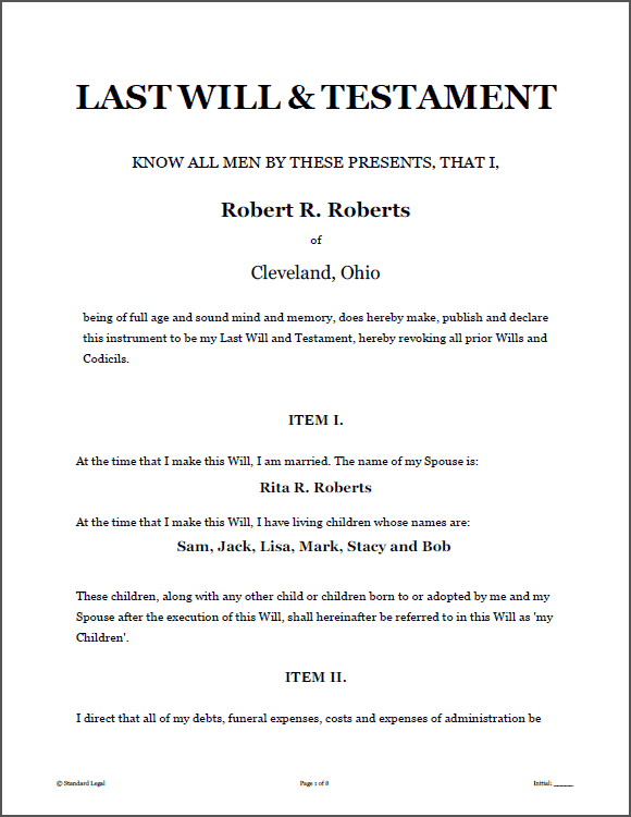 LAST WILL TESTAMENT Legal Forms Software Standard Legal Last - Legal last will and testament template