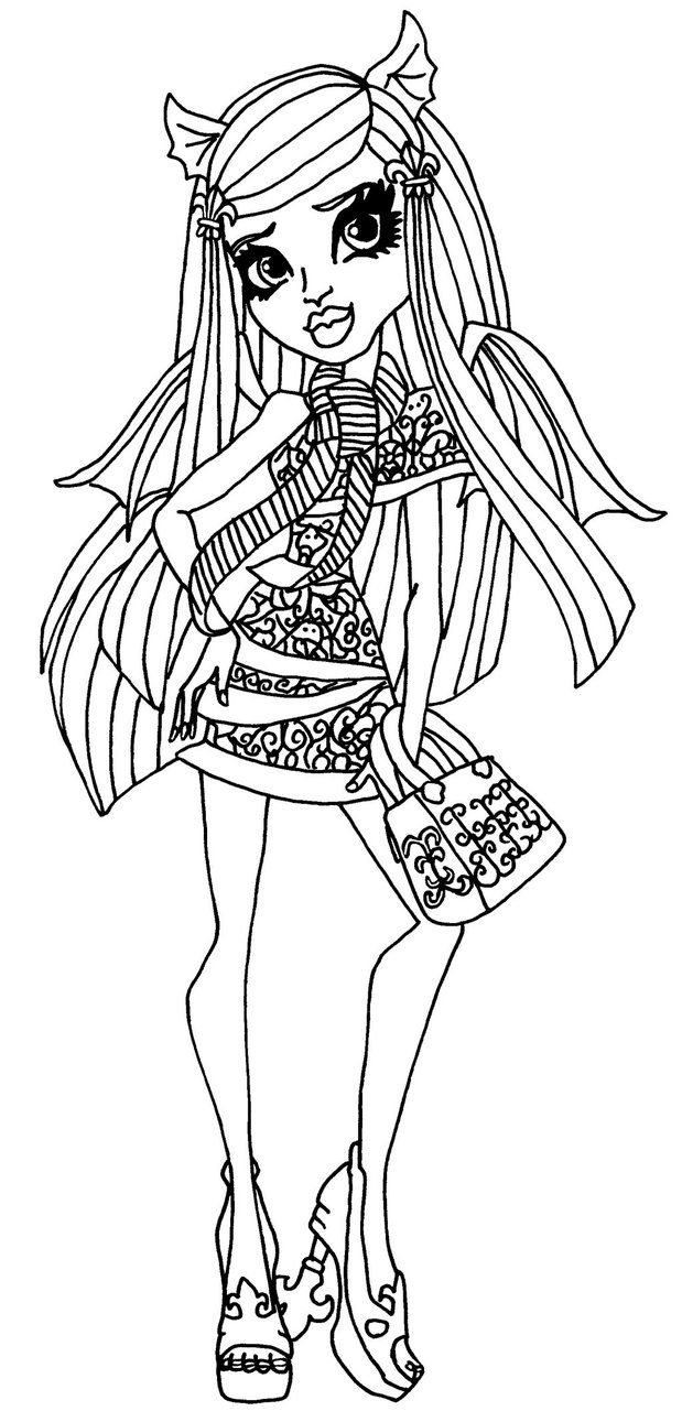 Monster High Ausmalbilder Rochelle Goyle : A Coloring Page Of Rochelle In Her Ghouls Night Out Outfit From