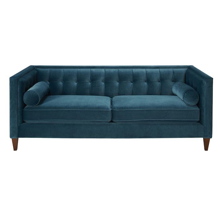Harcourt Velvet Standard 84 Rolled Sofa With Images Teal Sofa