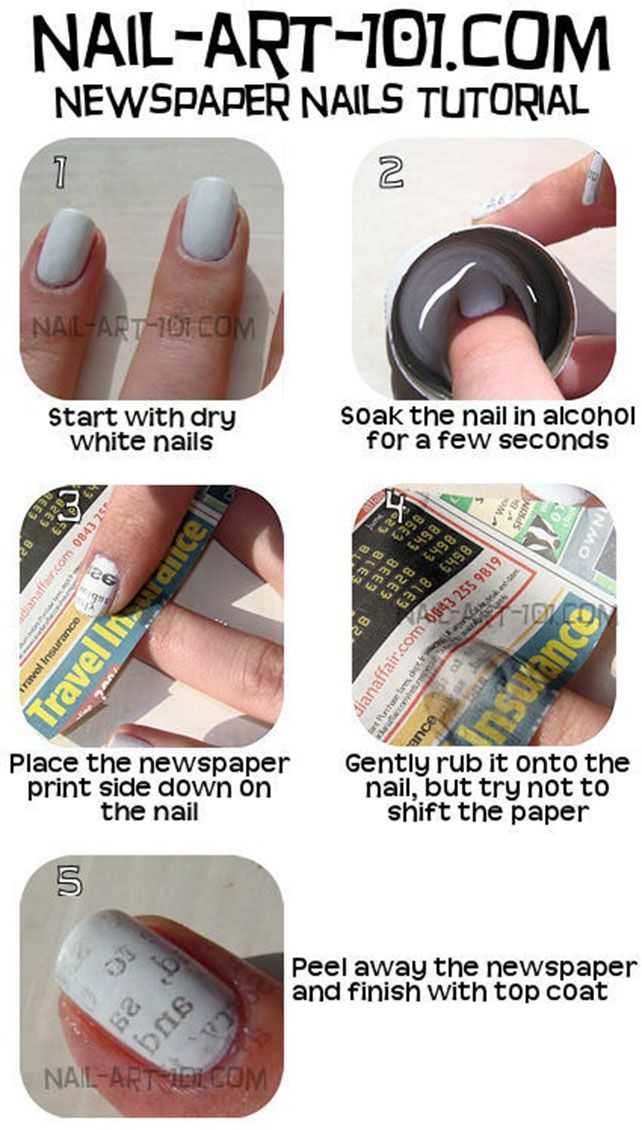 Newspaper Inspiration Nail Art Style Tutorial | Tips & Toes (Nail ...