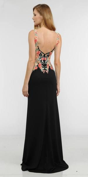 Black Evening Gown Sheer Sides with Floral Applique