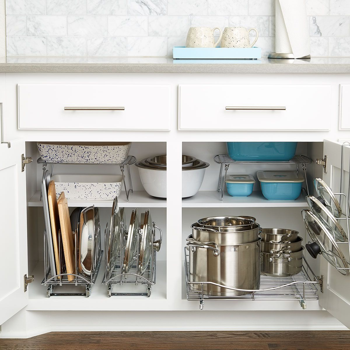 When It Comes To Lower Cabinet Organization In Your Kitchen Look For Products That Are Specifical Kitchen Drawers Kitchen Organization Diy Diy Kitchen Storage