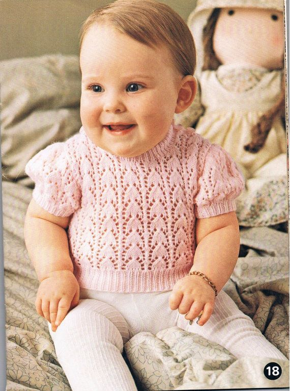 Vintage Knitting Pattern PDF: 1970s Baby Short Sleeve Sweater ...
