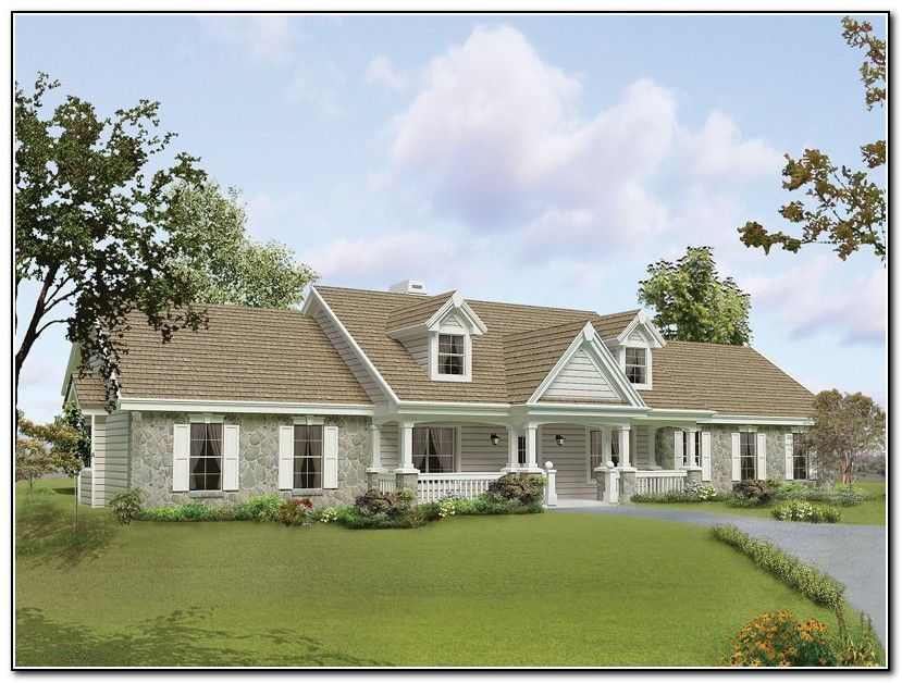 Front porch designs for raised ranch homes portico for Ranch style home blueprints