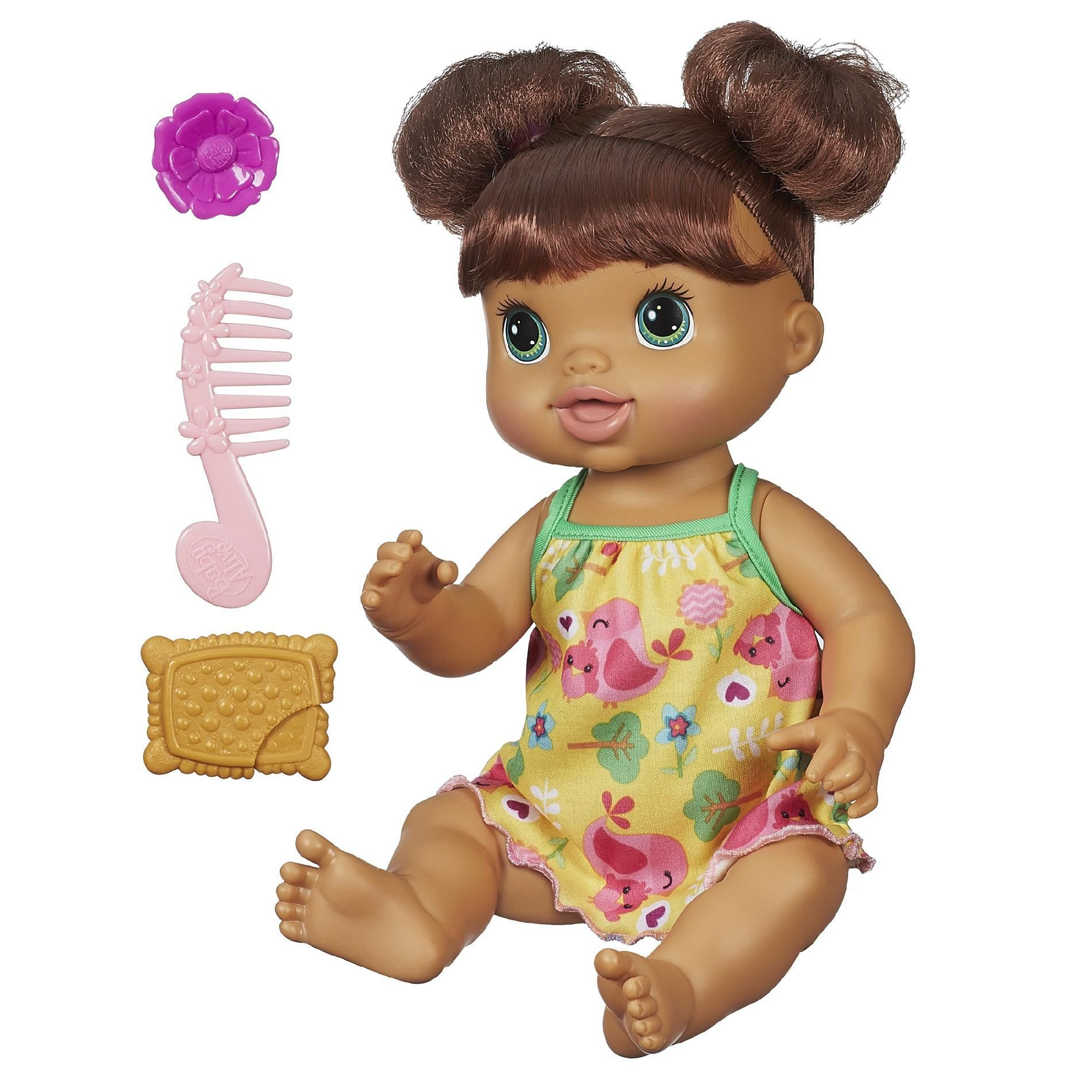 Baby Alive Pretty In Pigtails Baby Doll Brown Hair Baby Alive Baby Alive Dolls Baby Dolls