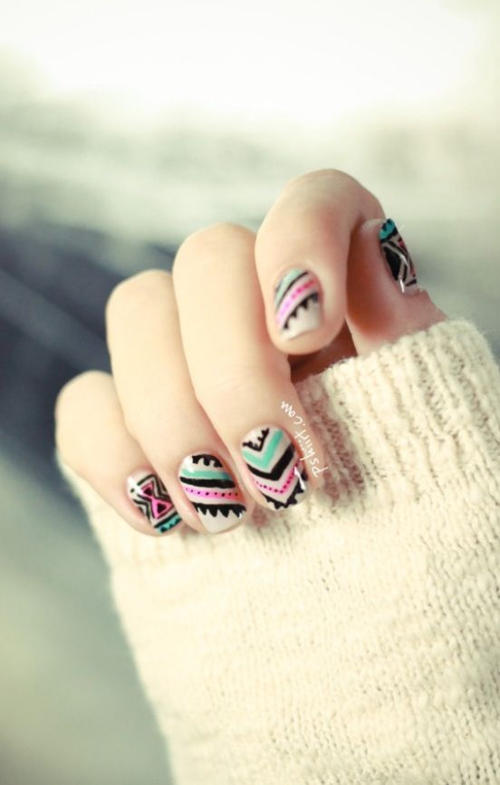 Cute Aztec Nail Design My Style Pinterest Aztec Nail Designs