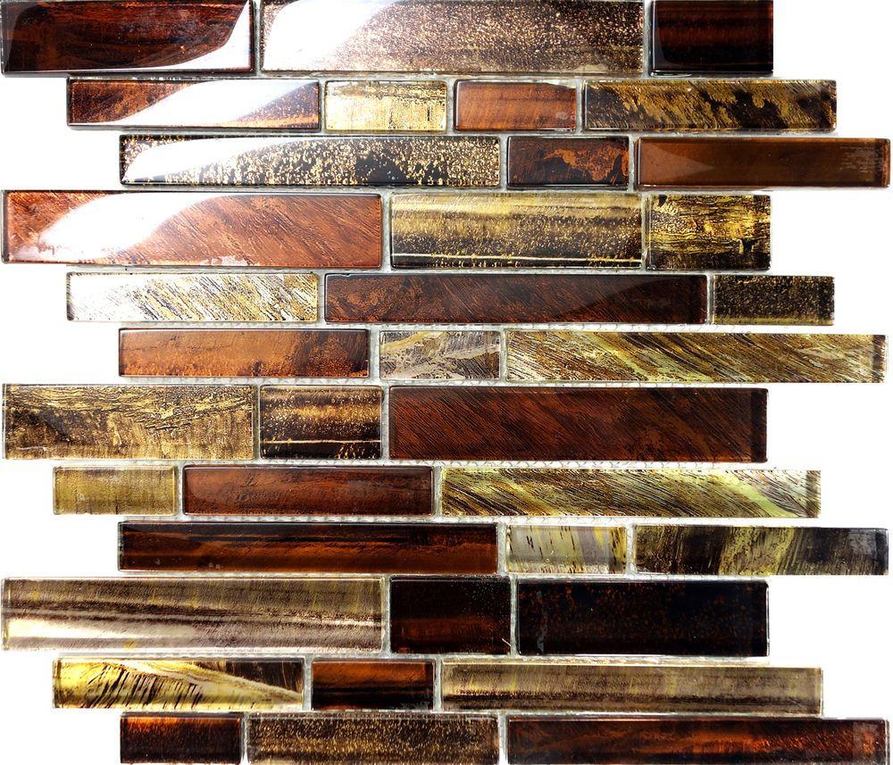 Sample Golden Brown Metallic Linear Glass Mosaic Tile Kitchen