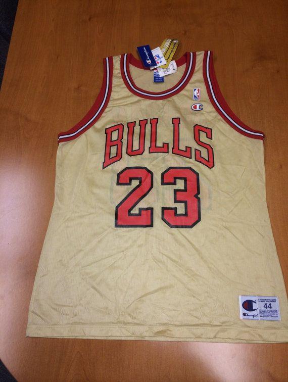 b48d1521a65 DEADSTOCK OG Chicago Bulls Michael Jordan 90s Champion GOLD Jersey Sz 44 -  vintage 48 m l nike lebron usa columbia space jam jams columbias