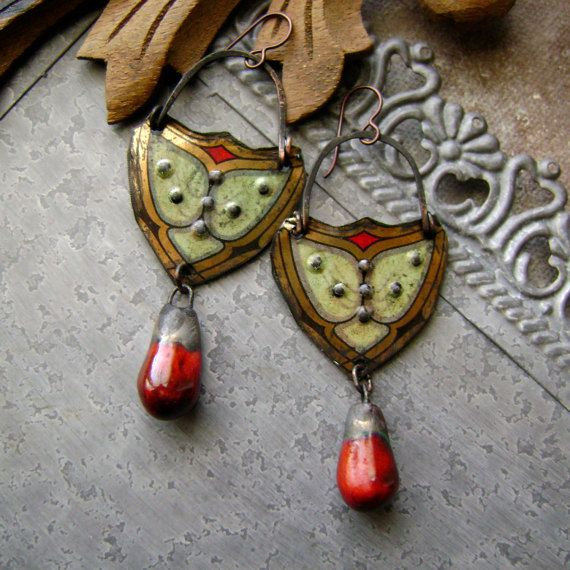 mixed metal mossy bleeding heart tin earrings with artisan ceramics, mixed media jewelry, assemblage earring, scorchedearth, AnvilArtifacts