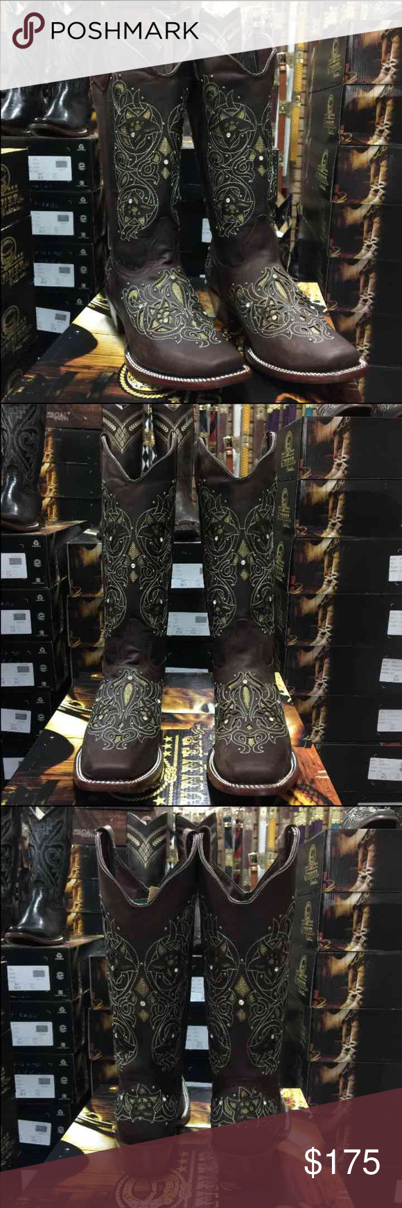 Women's Brown and gold Floral boots Dark brown with gold boots  Brand new in box 100% leather  Women's sizes 6-9.5  I can create a listing for your size needed :) Shoes