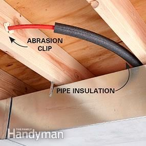 Plumbing with pex tubing for Pex water pipe insulation