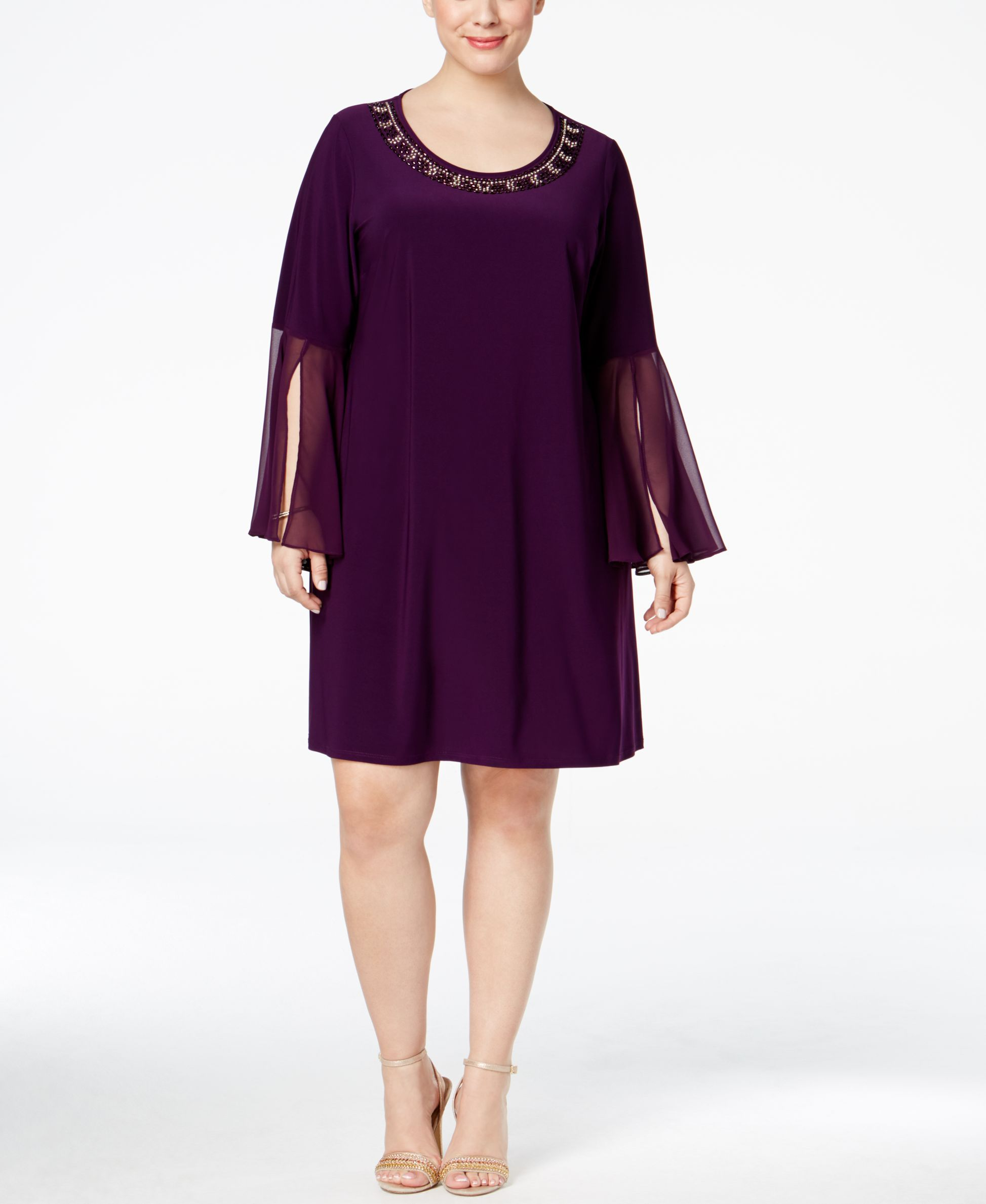Msk Plus Size Embellished Illusion Bell Sleeve Dress Products