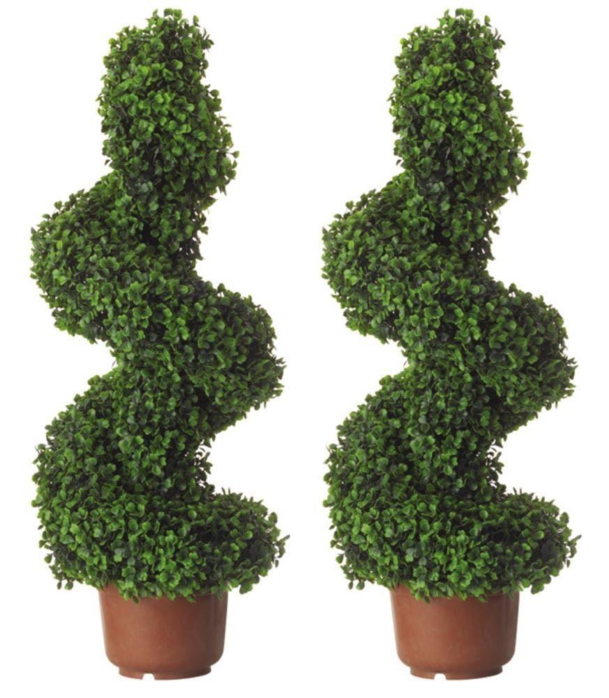 2 Artificial Tree Pair 80cm Topiary Pot Spiral Twist Plant