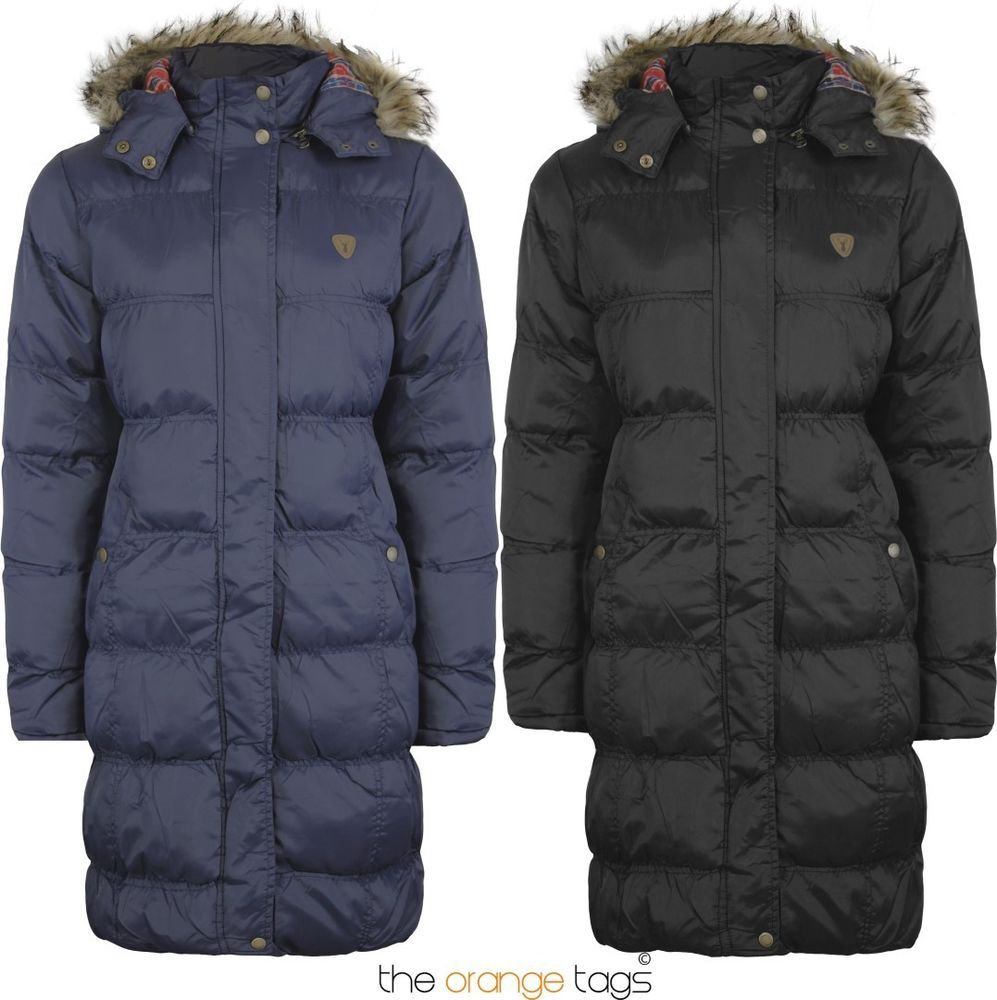 New Ladies Fur Long Hooded Quilted Padded Parka Jacket Womens Coat 6
