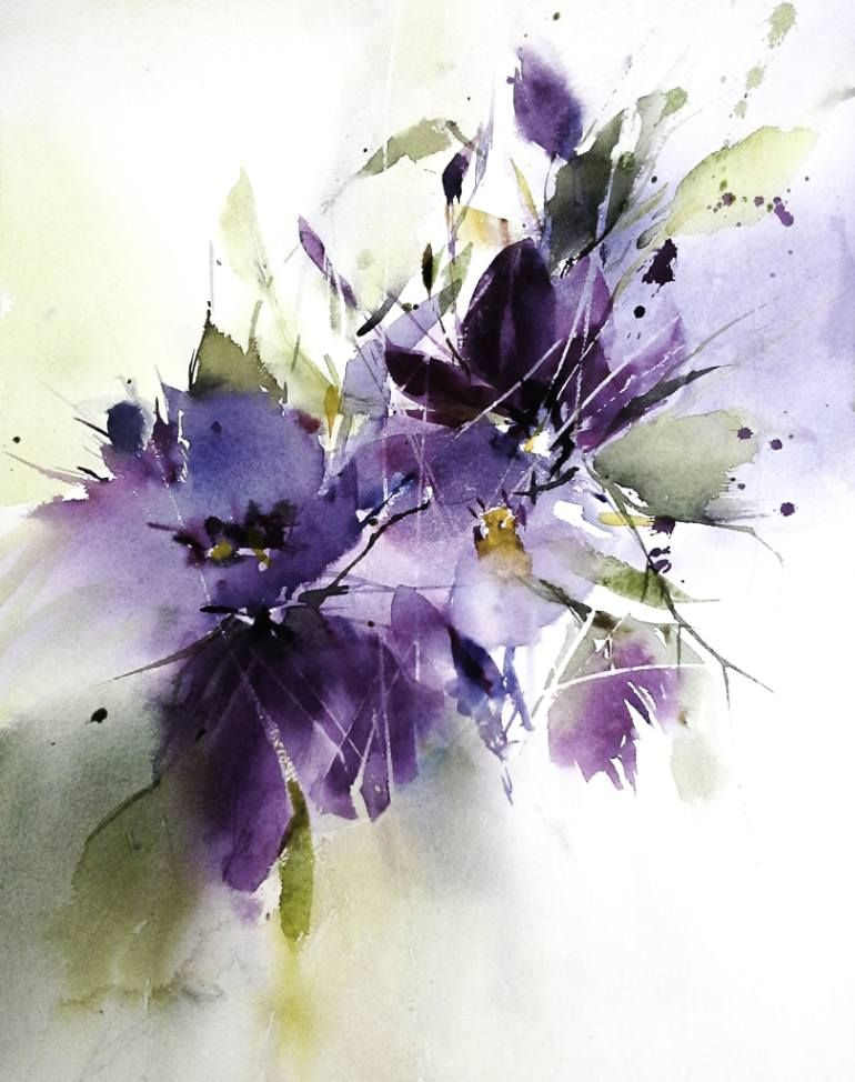 purple dream - watercolor by Annemiek Groenhout   Water ...