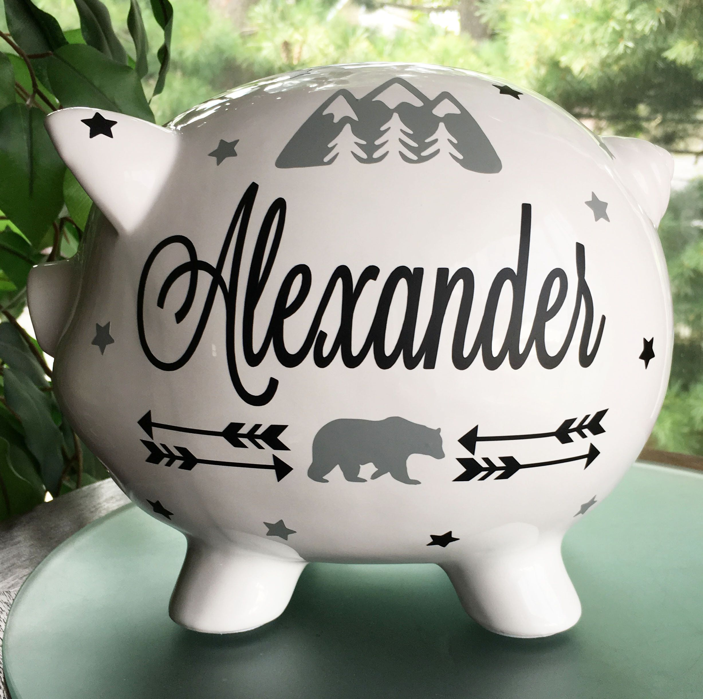 Piggy Bank Personalized Piggy Bank For Baby Boy Baby Boy Shower Gift Toddler Boy Gift In 2020 Baby Shower Gifts For Boys Toddler Boy Gifts Personalized Piggy Bank