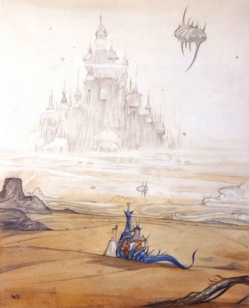 Foreign Castle #ConceptArt from #FinalFantasy by #YoshitakaAmano