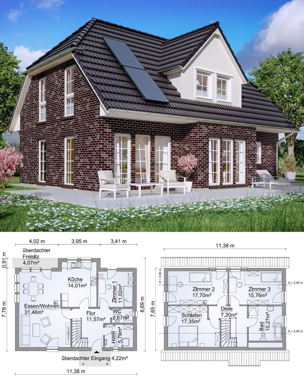 Grundriss Bungalow mit SatteldachArchitektur 2 Zimmer