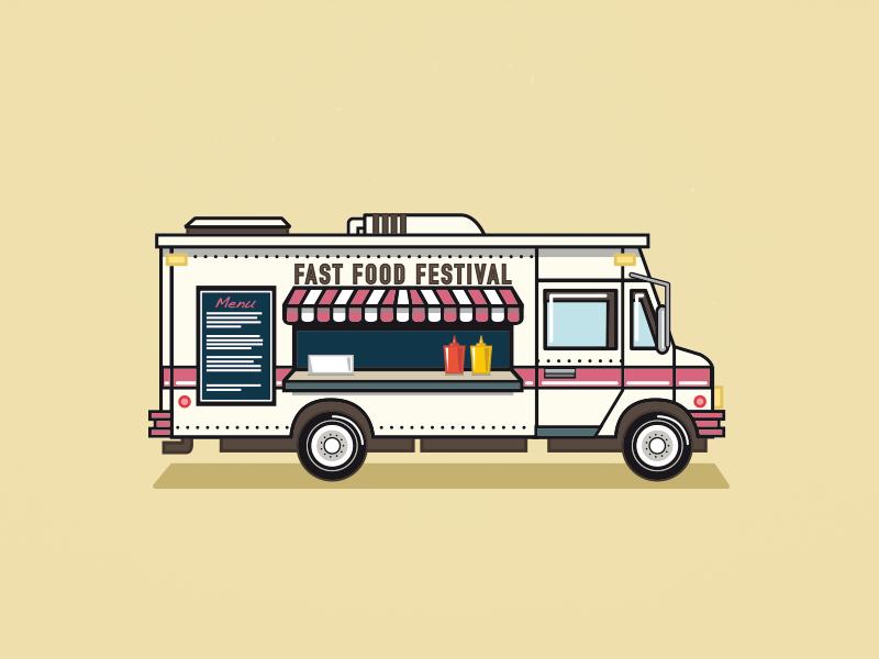 Fast Food Festival Foodtruck Food Poster Design Food Truck Design Motorbike Illustration