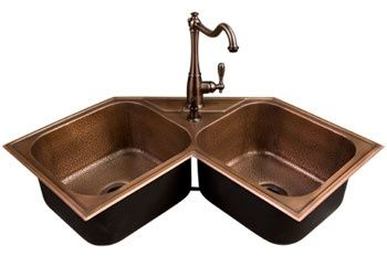 Copper Kitchen Sink I Love That Its A Corner Sink With Images