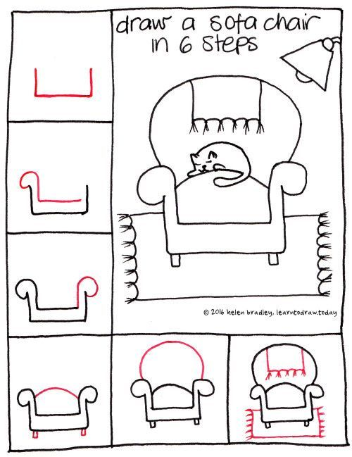 Couch 6step Easy Drawings Kawaii Drawings Drawing For Kids