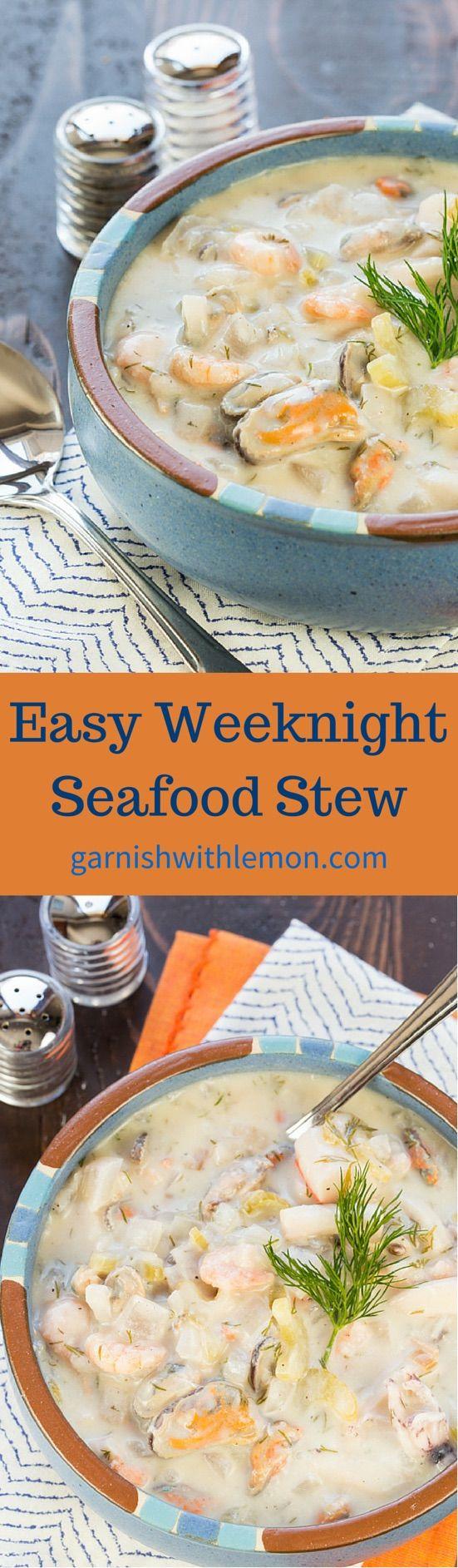 Easy Weeknight Seafood Stew - Garnish with Lemon