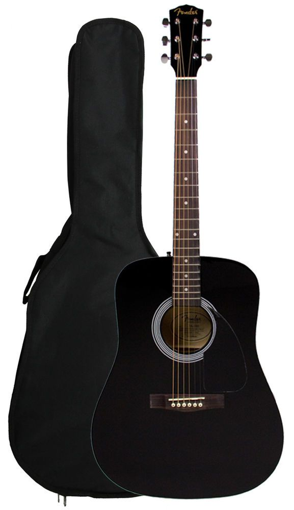Fender Fa 100 Dreadnought Acoustic Guitar With Gig Bag Black Guitar Acoustic Guitar Yamaha Bass Guitar