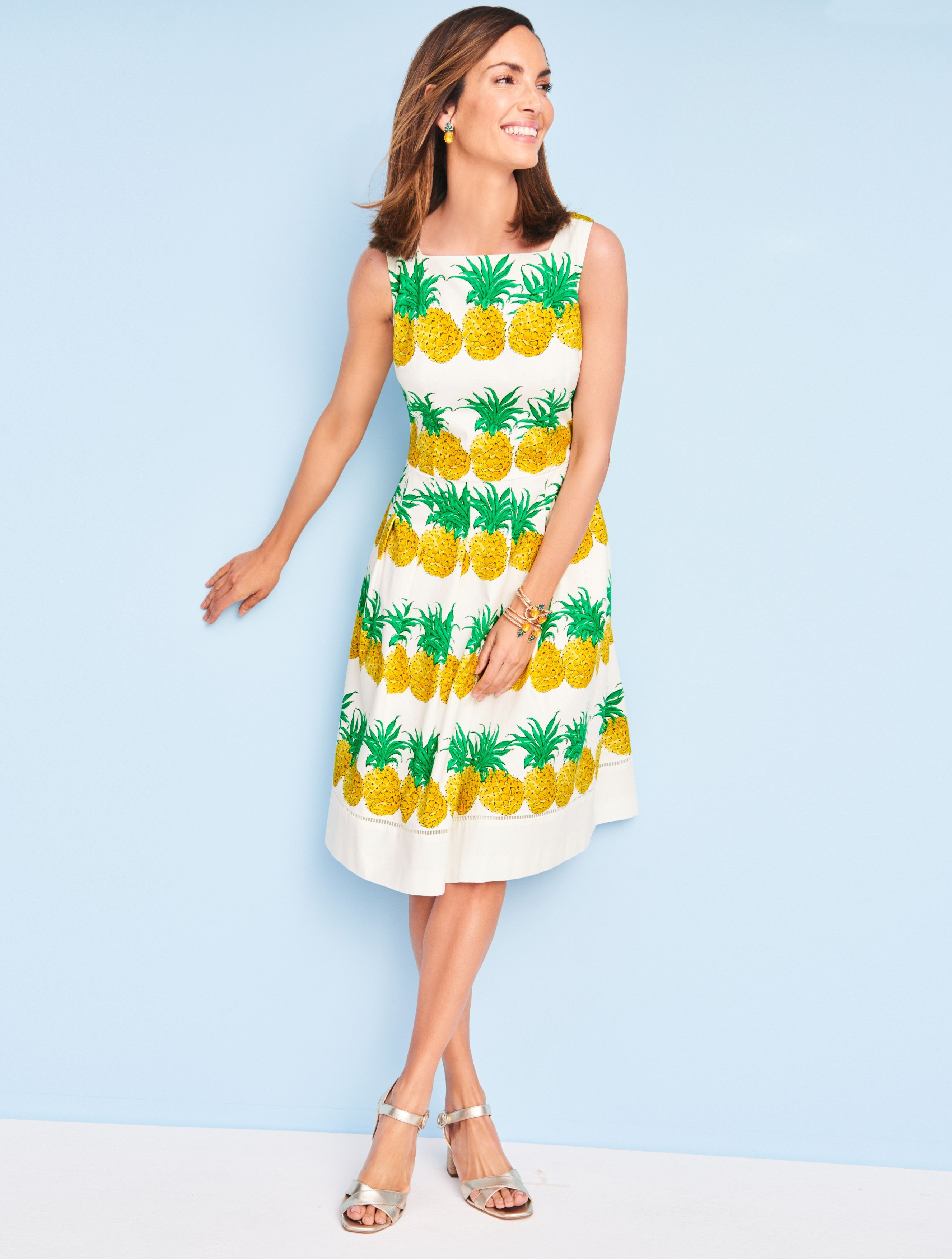 Colorful Pineapples Refresh A Classic Silhouette The Full Skirt And Square Neck Offer Comfortable Coverage So Y Fit And Flare Dress Flare Dress Talbots Dress [ 3508 x 2652 Pixel ]